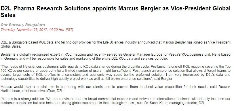 D2L in News Kol Mapping Pharma on